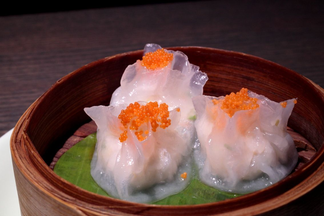 Lobster dumpling with tobiko caviar