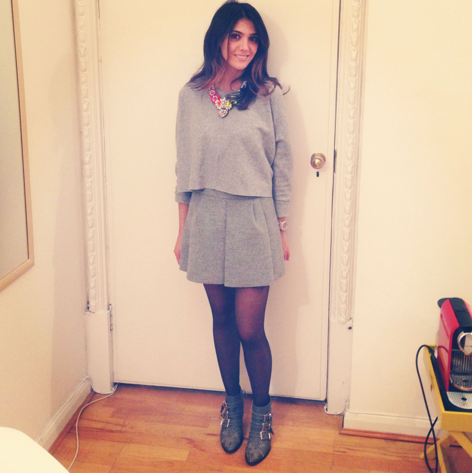 Zara skirt and top  , shourouk necklace , chloe suzana boots