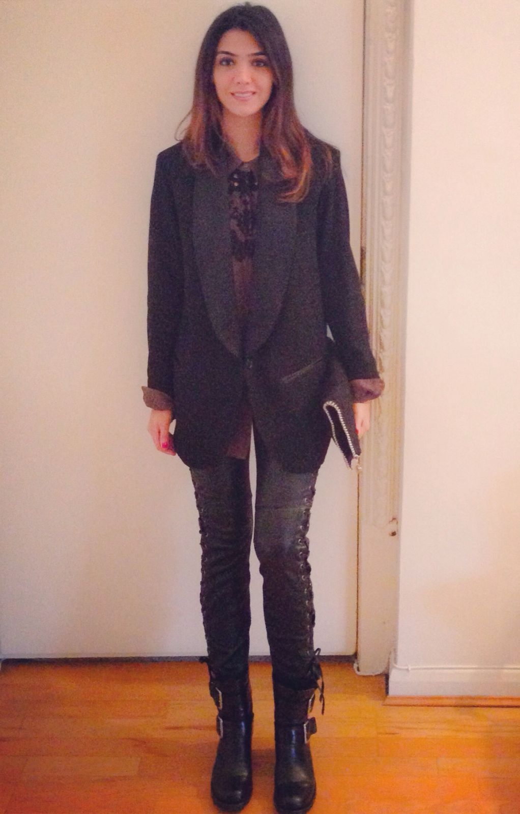 IM x H&M pant and blaser - freelance biker7  boots - stella mccartney clutch - thekooples shirt