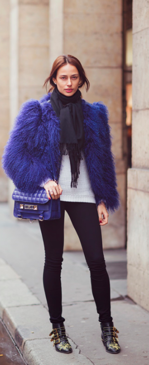 Love this colorful fluffy fur jacket , the PS11 proenza shouler and of course the suzanna boots by chloe.