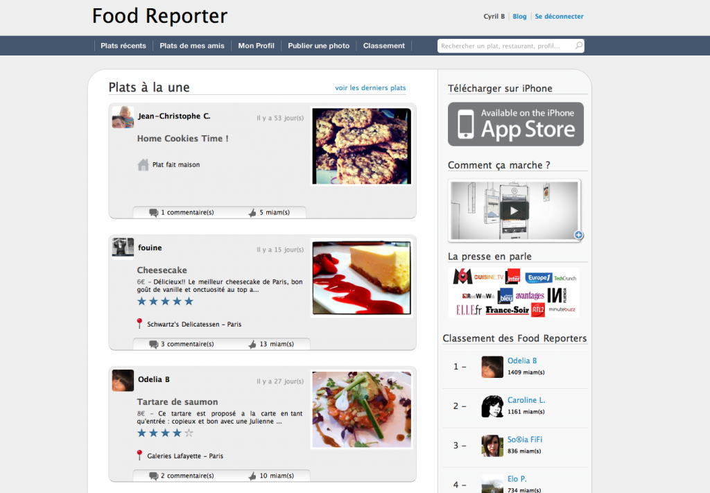 Lancement du site Internet Food Reporter (Beta)