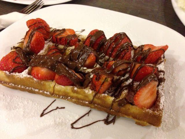 Gaufre fraises Nutella postées par Mora