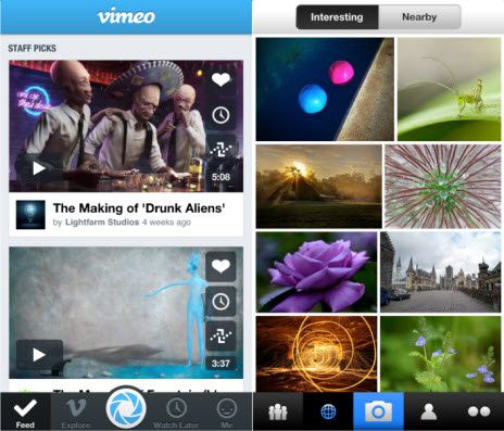 Flickr and Vimeo integration head to iOS 7