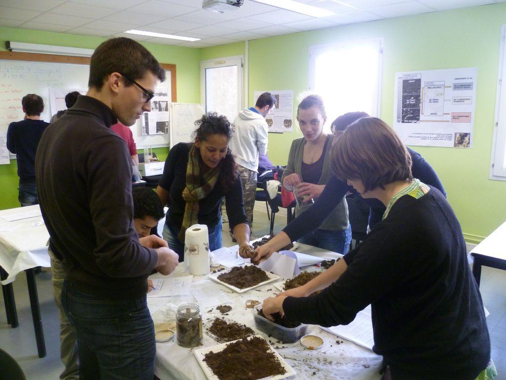 Les  groupes BPA et BP REA en séance de manipulation d'échantillons de sols…