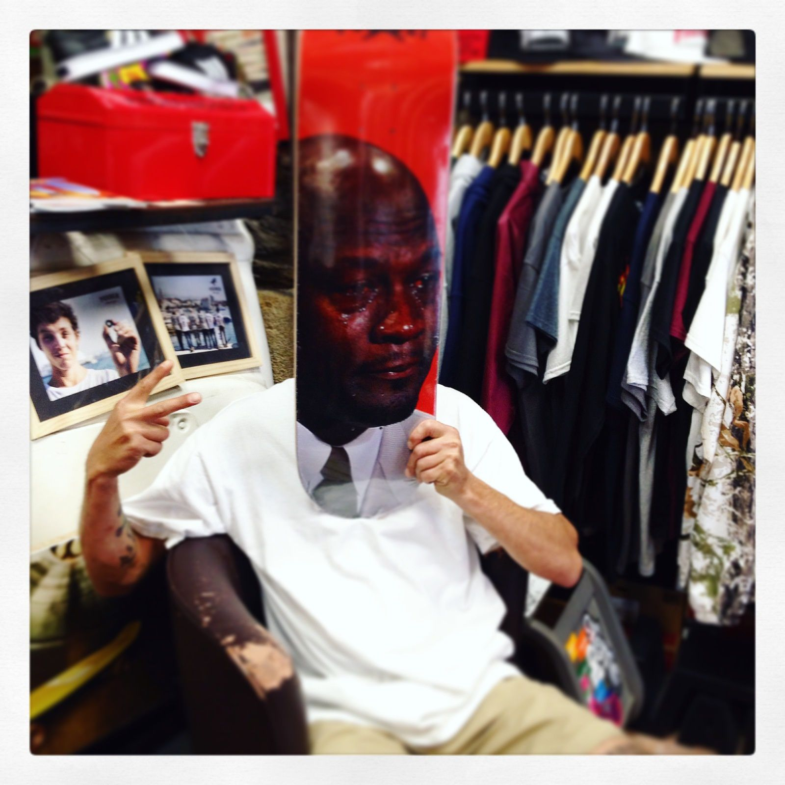 Crying Jordan deck from Pizza Skateboards