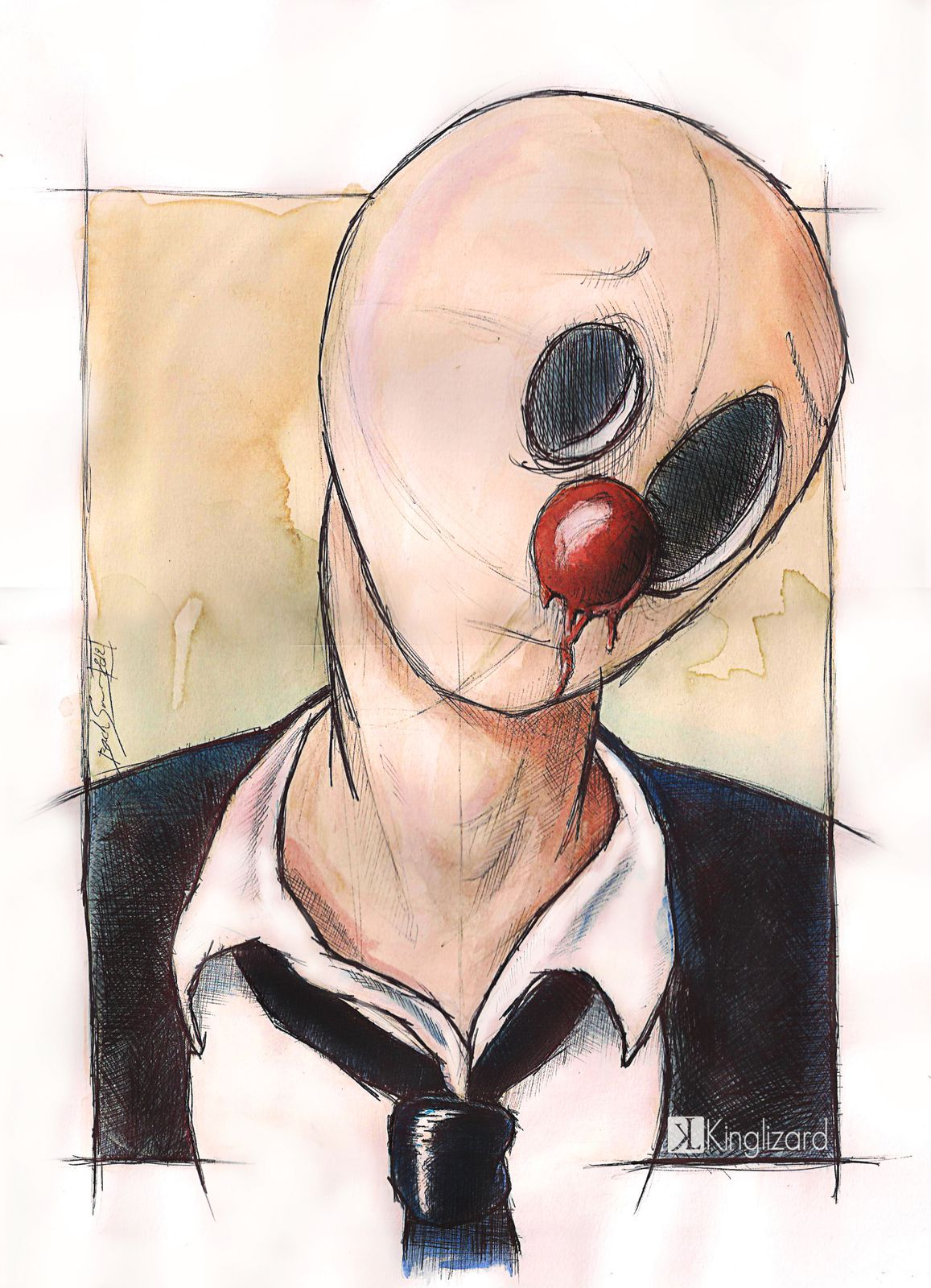 """""""le clown qui fait pas rire"""" 30x40cm (c) 2012"""
