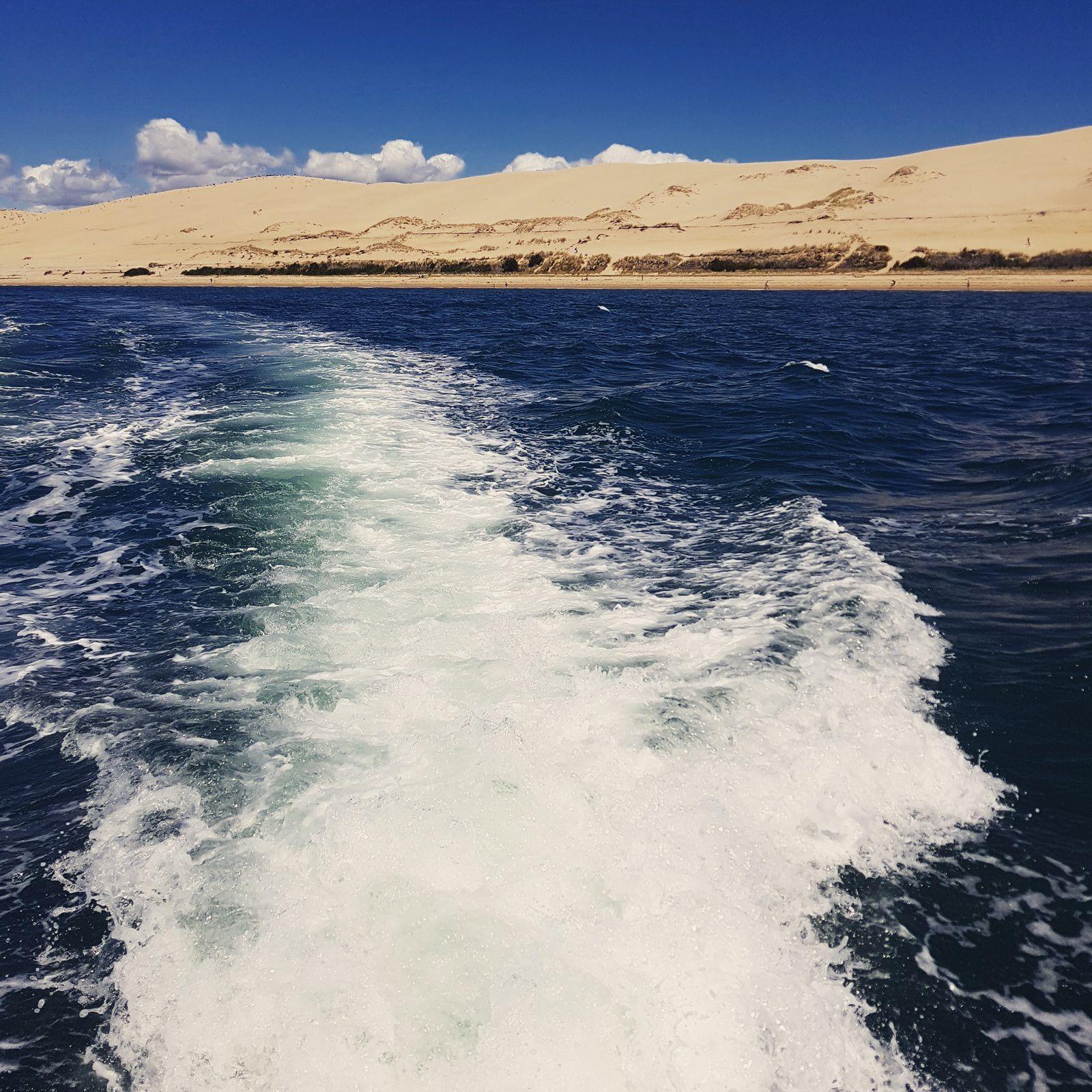 en route pour le Grand Tour du Bassin en bateau