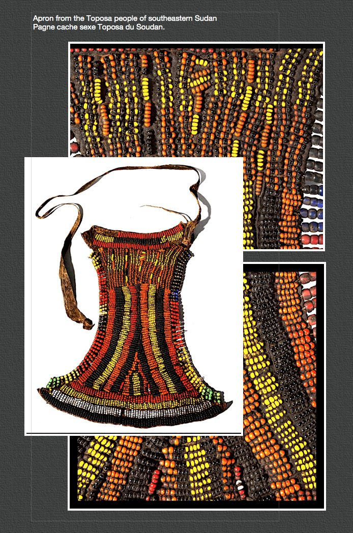 Apron from the Toposa people of southeastern Sudan | Leather with glass beads / Pagne cache sexe Toposa du Soudan