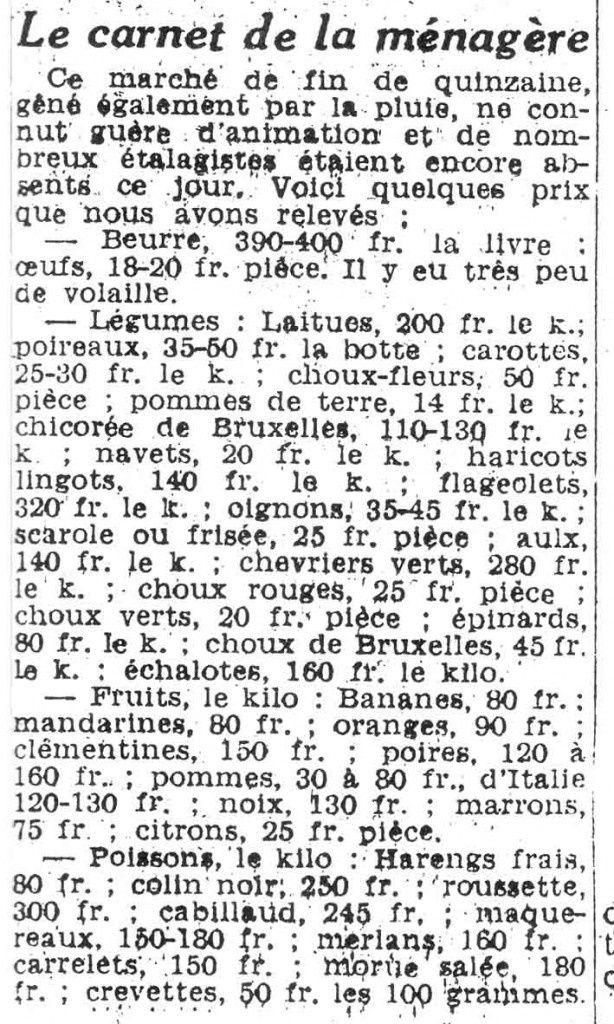 Les prix au marché de Barlin en 1954