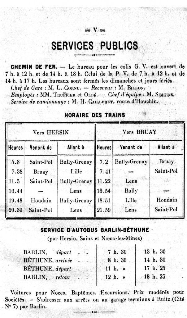 Au départ de la gare de Barlin, les voyageurs pouvaient se rendre à Lille