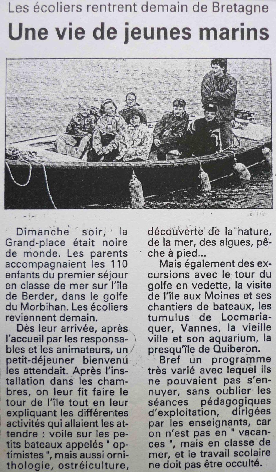 Mars 1995, les écoliers barlinois passent une semaine en classe de mer sur l'île de Berder.
