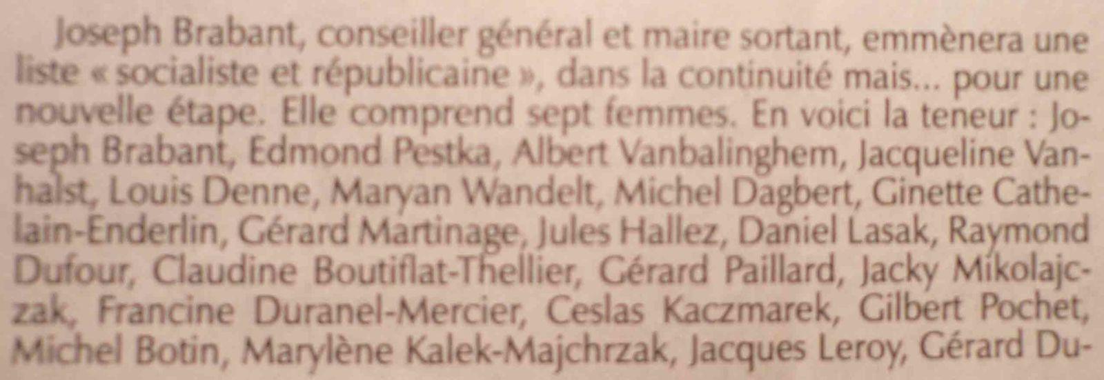 Deux listes pour les élections municipales de Barlin en 1995
