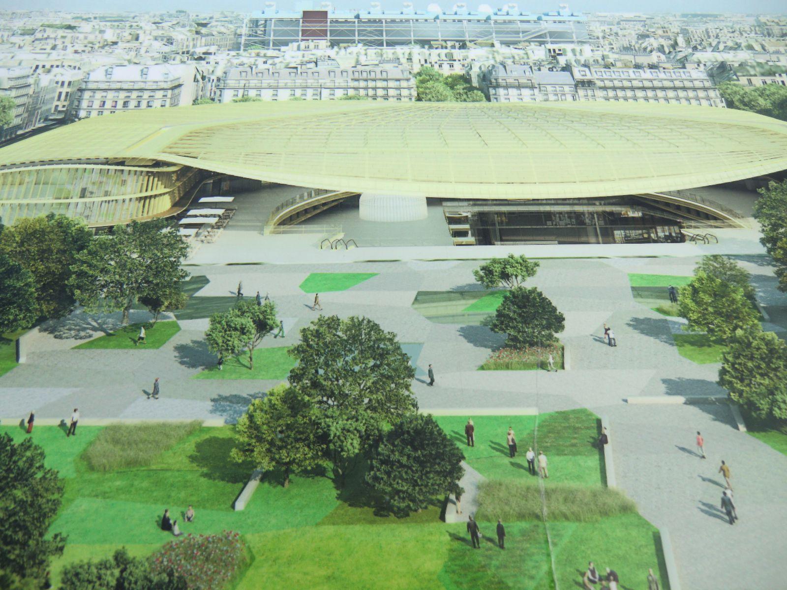 maquette du Jardin des Halles, la canopée au fond