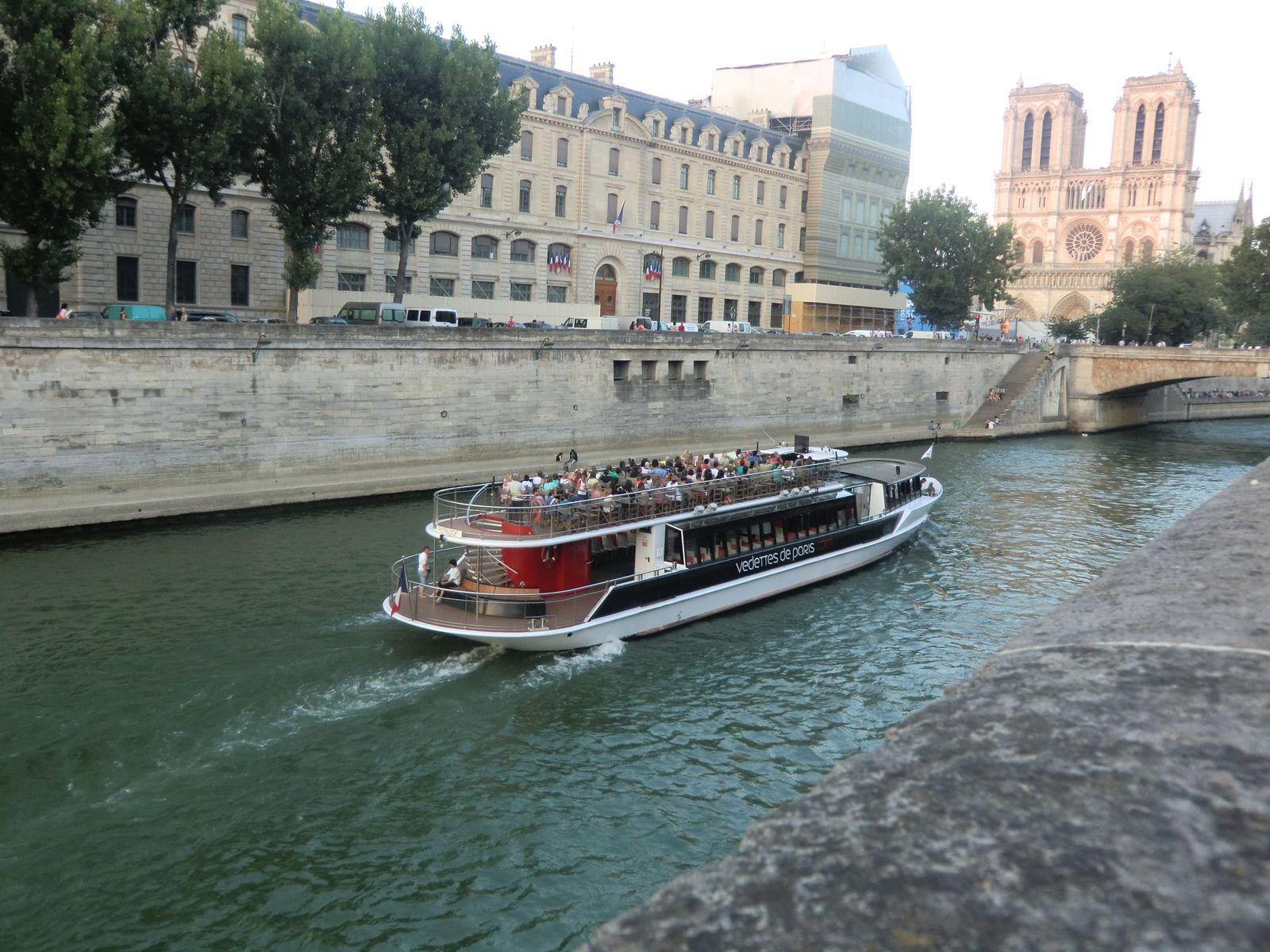 Vedettes de Paris sur la Seine, au fond Notre-Dame