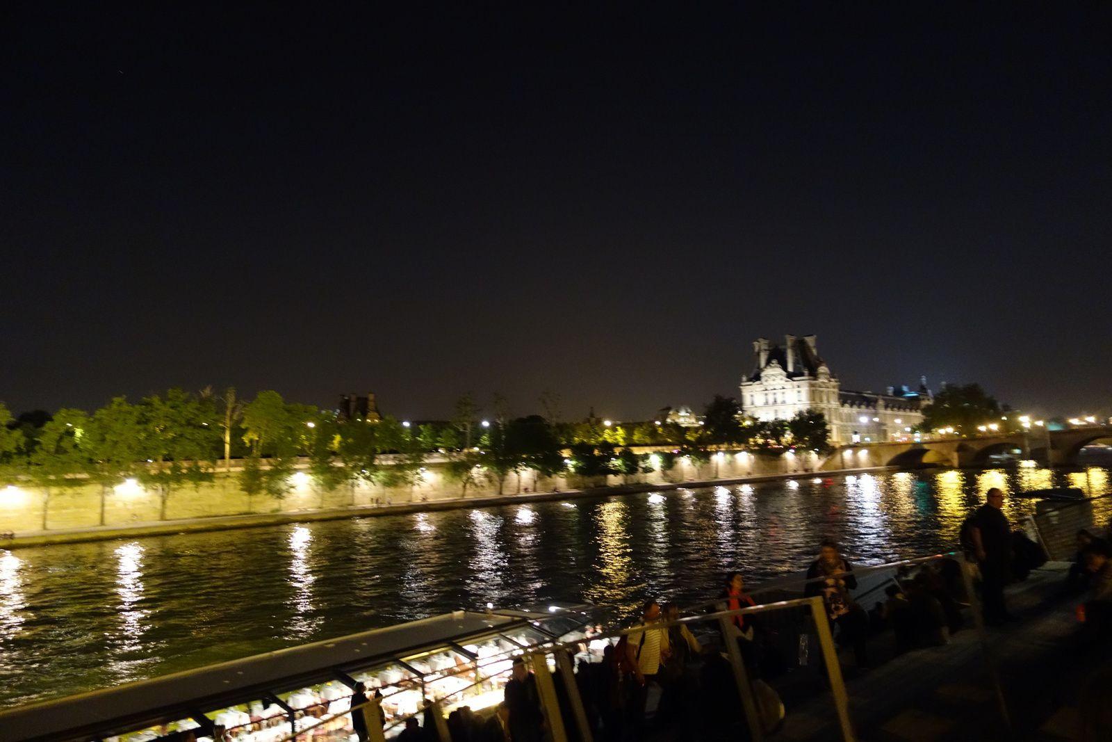 Reflets des lumières dans la Seine, le jardin des Tuileries en face, au fond le Louvre