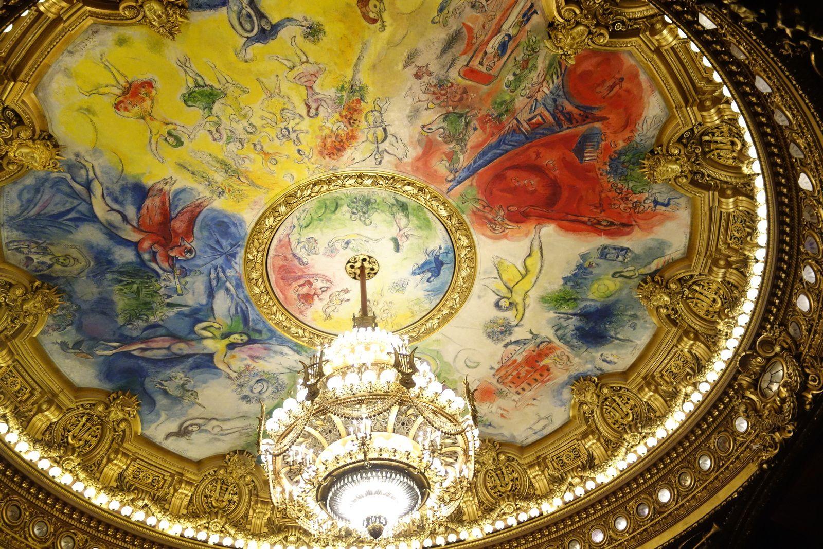 Le plafond de l'Opéra Garnier, peint par Chagall.