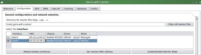 """Dans le principe, c'est toujours pareil, rendez vous dans l'onglet """"Configuration"""" pour passer votre carte réseau qui va bien en mode """"monitor"""" (Enable/Disable Monitor Mode)"""