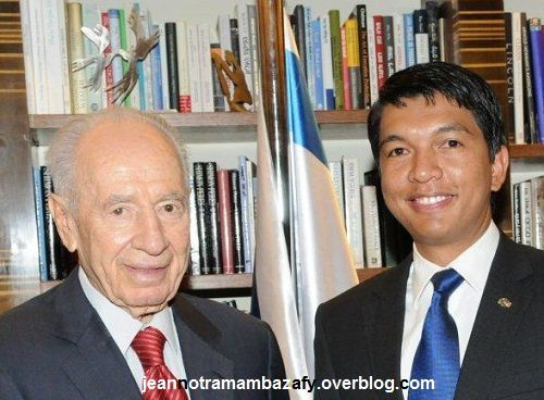 Israeli President Shimon Peres and Andry Rajoelina, President of the Transition of Madagascar
