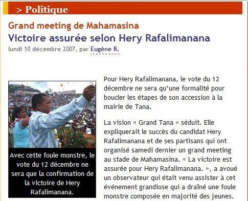 Madagasikara: Ravalomanana loza amin'atambo !
