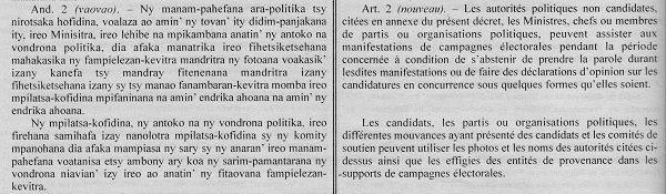 Madagascar élections. Décret 2013-593 : nul n'est censé ignorer la loi, à commencer par les magistrats et les médias