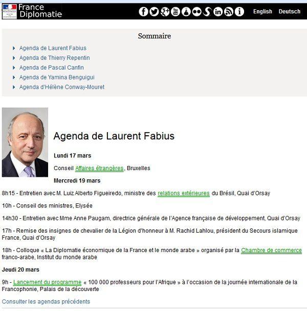 Rien sur l'agenda pré-établi du ministre Laurent Fabius à la date du 20 mars 2014, concernant Madagascar.