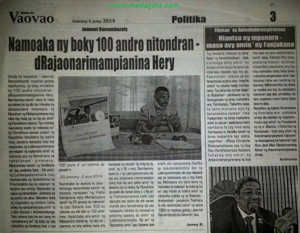 Jeannot Ramambazafy: Afrique matin, Rfi du 05 juillet 2014