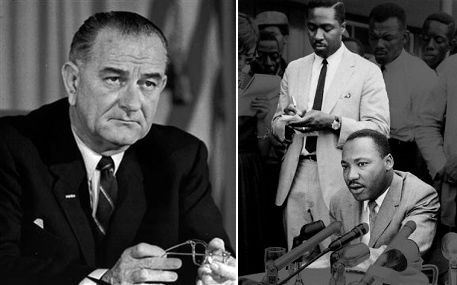 Left: LBJ&#x3B; right: Clarence B. Jones, up, and Dr. Martin Luther King Jr., seated
