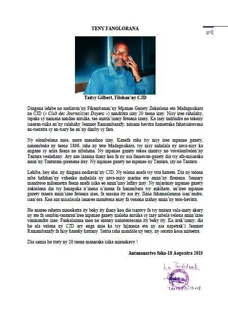 Madagascar journalisme. CJD : &quot&#x3B;L'AVENTURE SE POURSUIT!&quot&#x3B;, un livre de Jeannot Ramambazafy