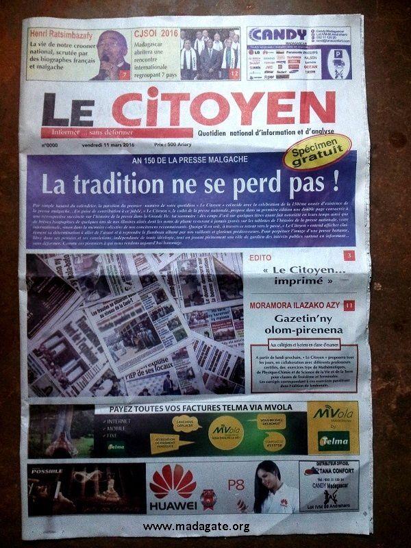 &quot&#x3B;Le Citoyen&quot&#x3B;, journal fils de JDM sous Didier Ratsiraka