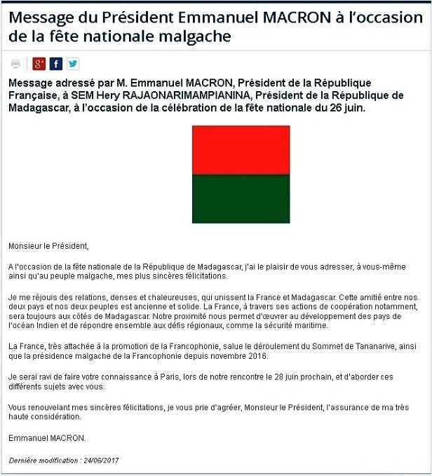 Extrait du site officielle de l'Ambassade de France à Madagascar