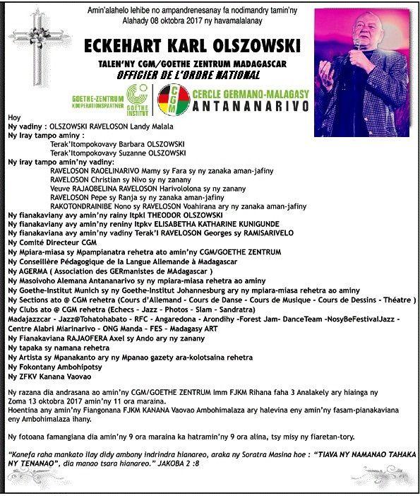 Eckehart Olszowski. Der Abschied dem CGM von Jeannot Ramambazafy