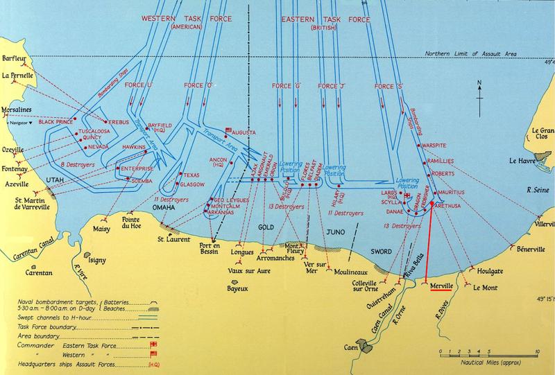 Plages du Débarquement et noms et positions des navires