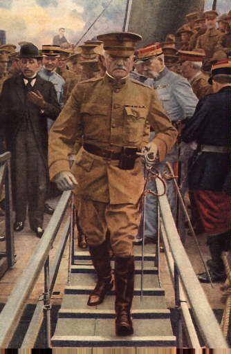 Tableau représentant le général John Pershing lors de son arrivée à Boulogne-sur-Mer