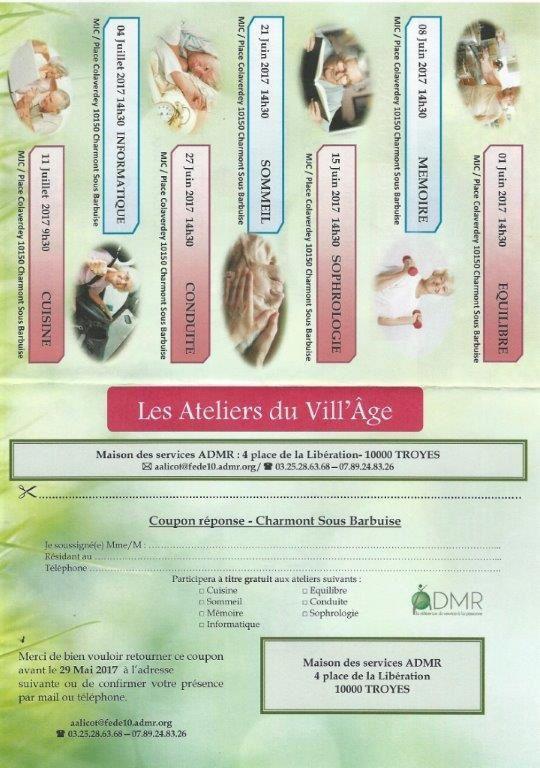 Les ateliers du Vill' âge - GRATUIT - ADMR - Charmont