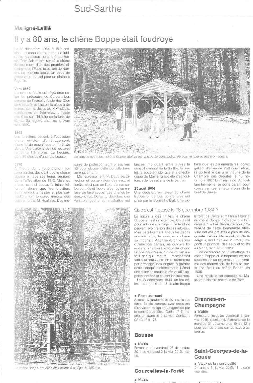 Il y a 80 ans le chêne Boppe était foudroyé