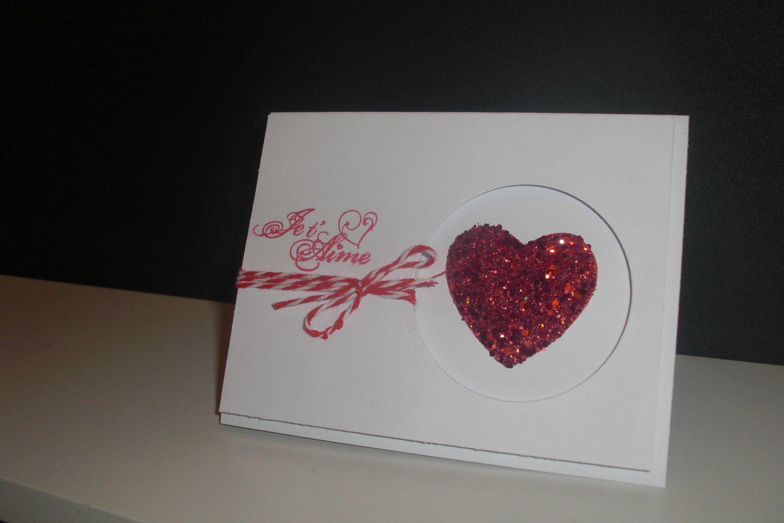 Série St Valentin 2014 carte #3 &quot&#x3B;coeur à pailettes&quot&#x3B;