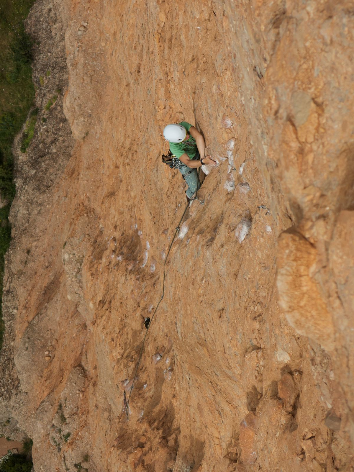 Passage en dülfer en milieu de L3 (6b+), technique