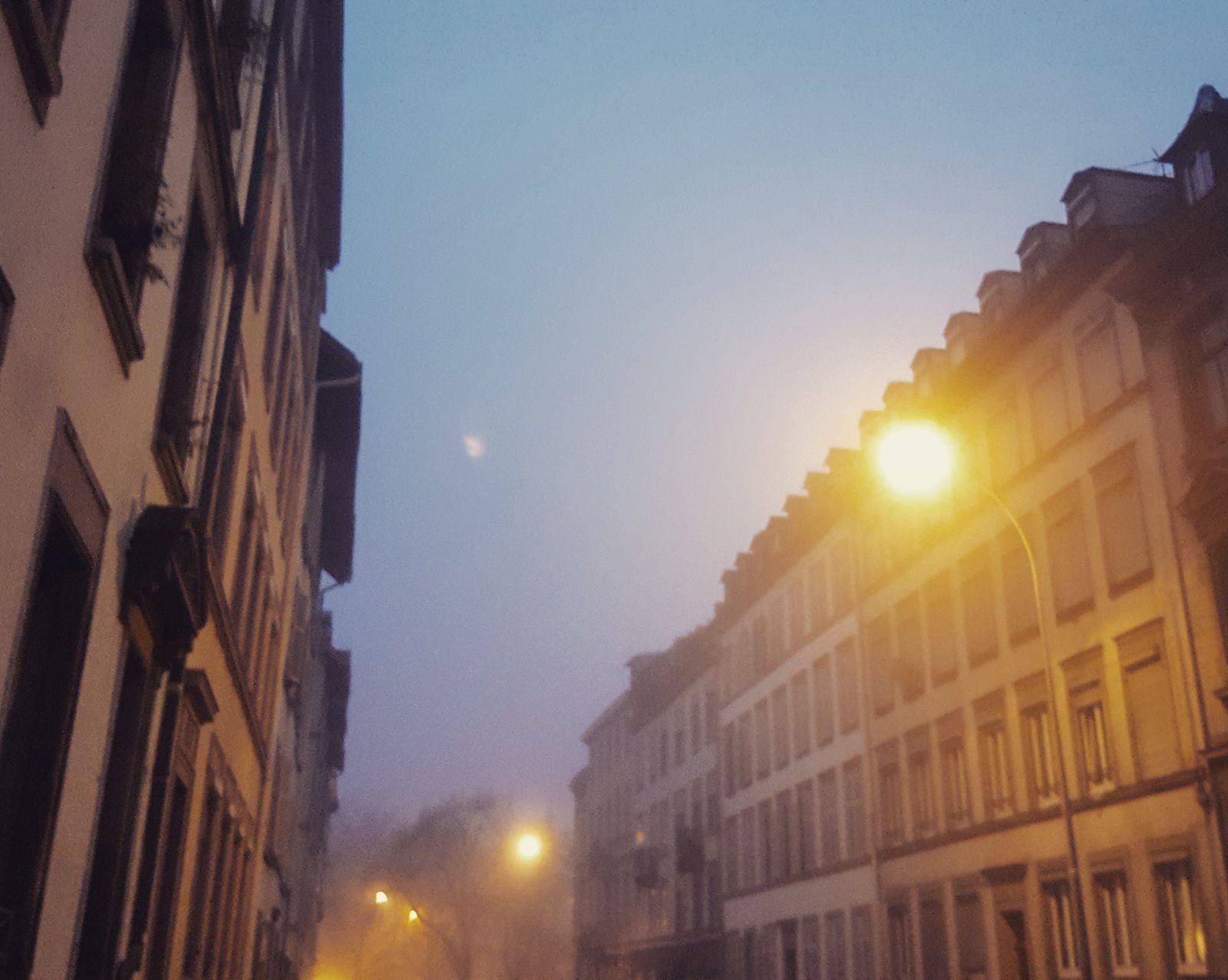 Sortie du bureau sous le brouillard...