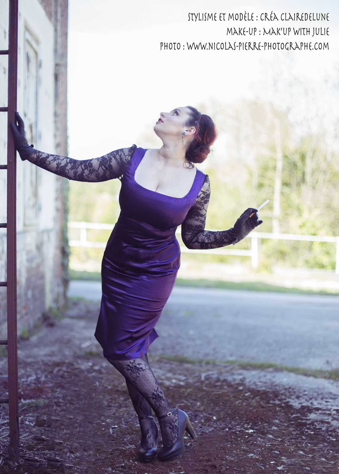 Robe fourreau violette : une Pin up gangster