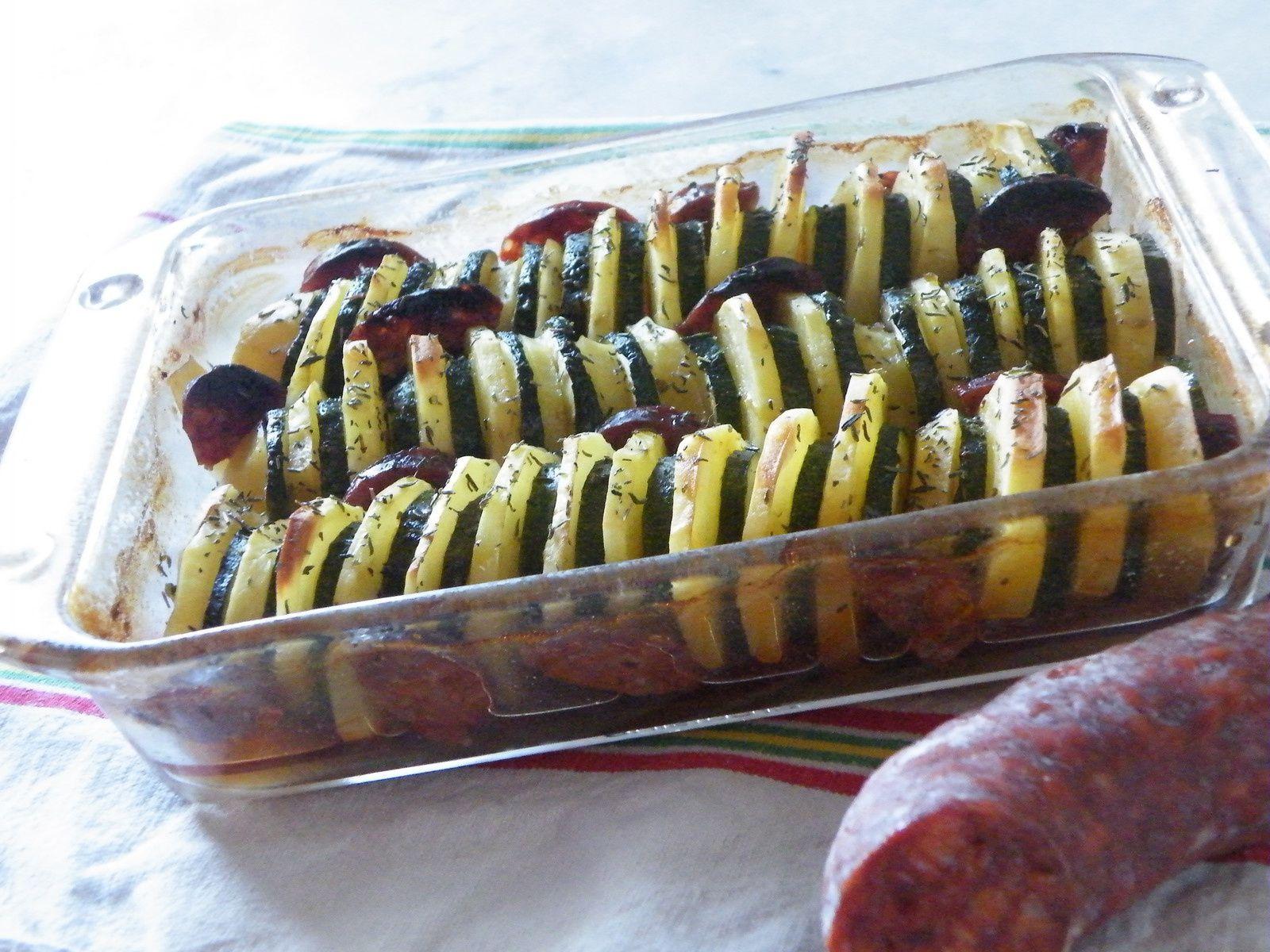 Tian de courgettes &amp&#x3B; pommes de terre au chorizo