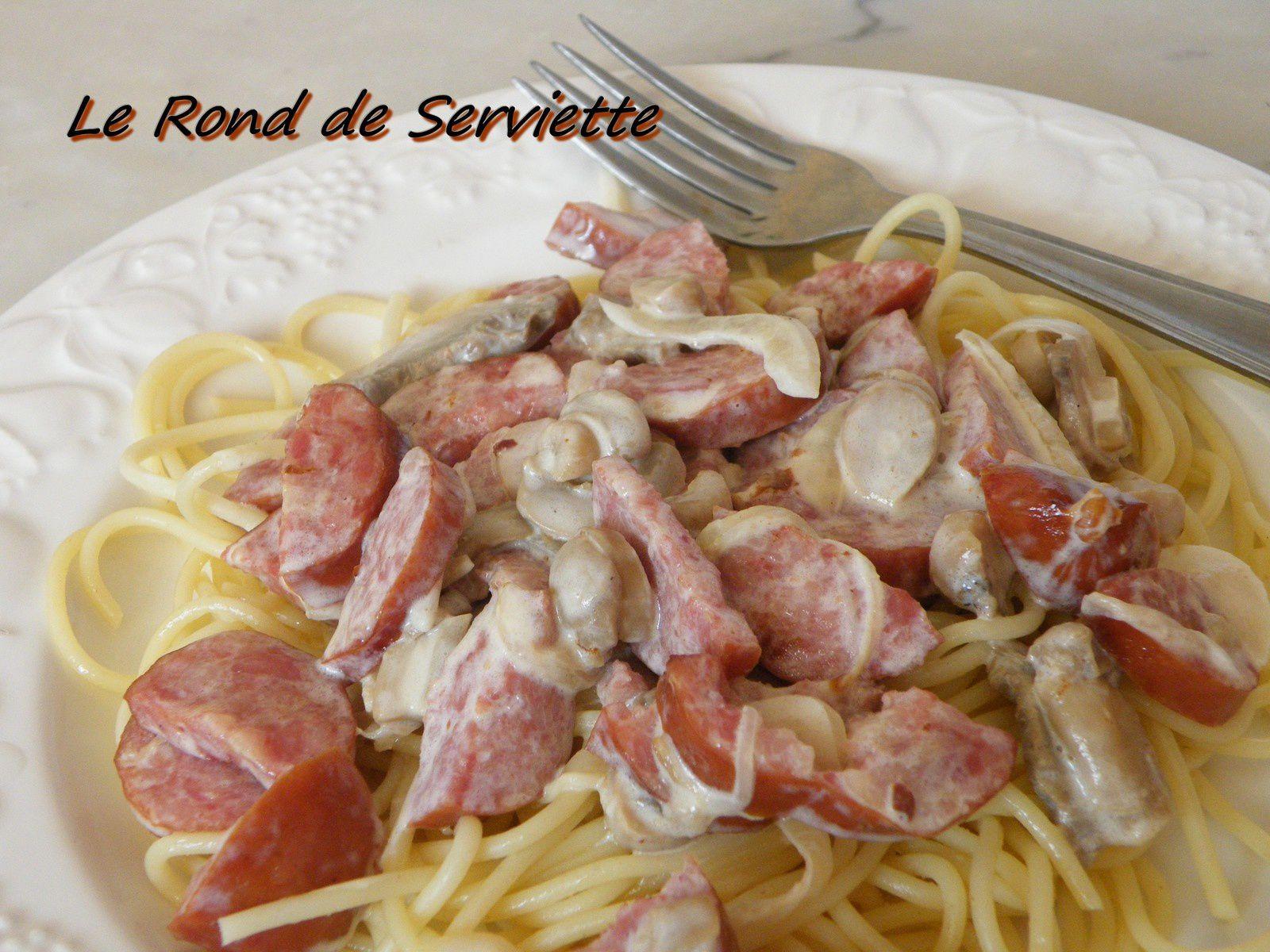 Spaghettis aux saucisses fumées façon Carbonara