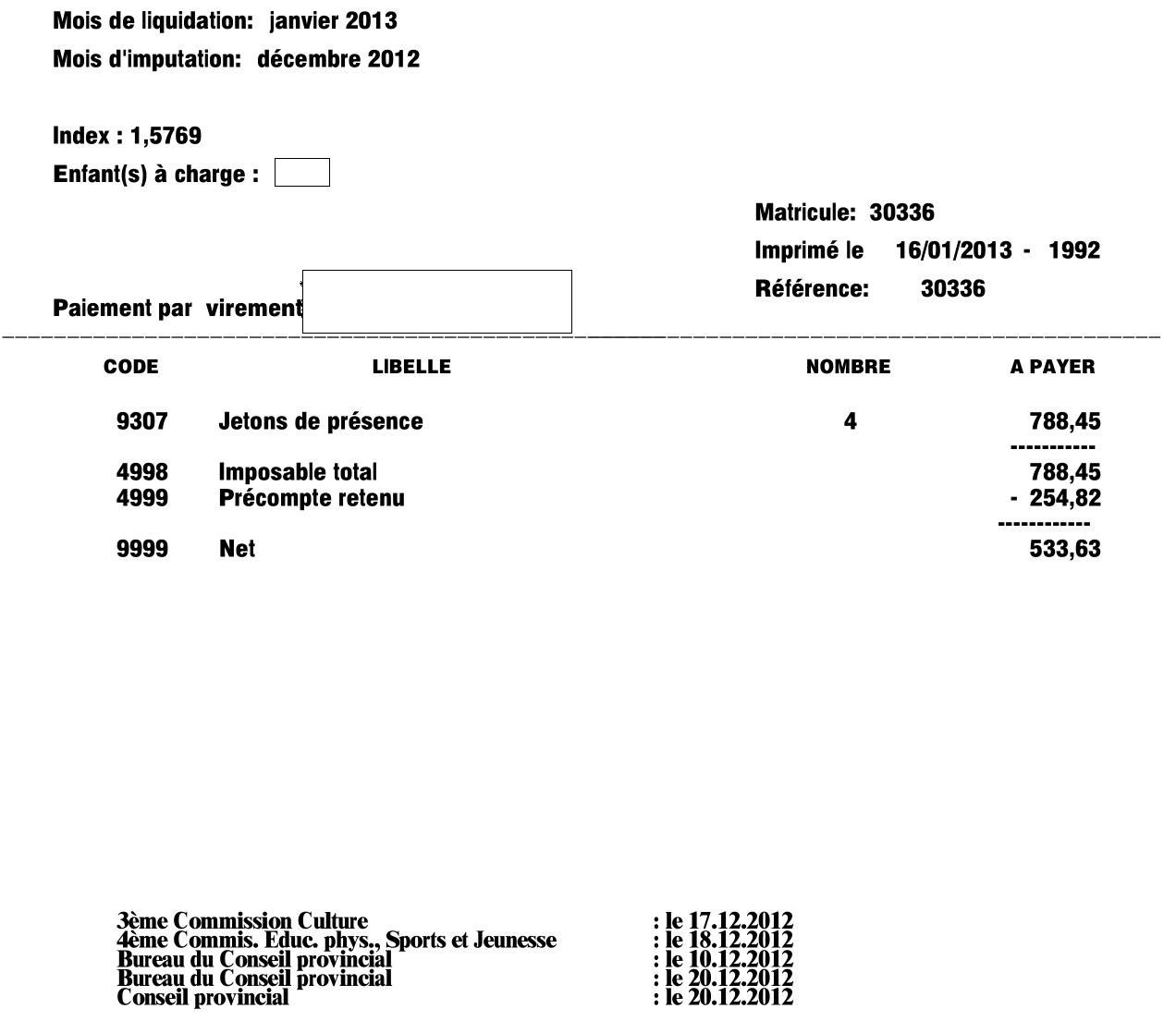 La fiche de paye du mois de décembre 2012 d'un conseiller provincial.