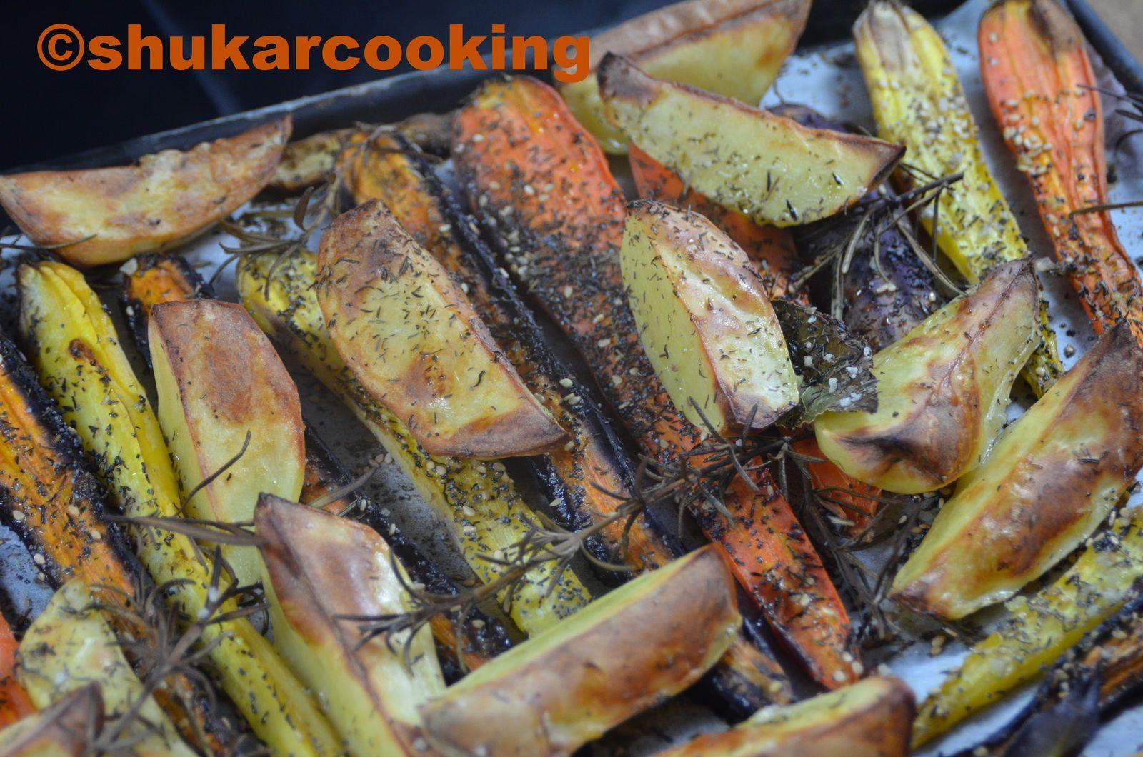 Carottes et pommes de terre rôtis au sésame