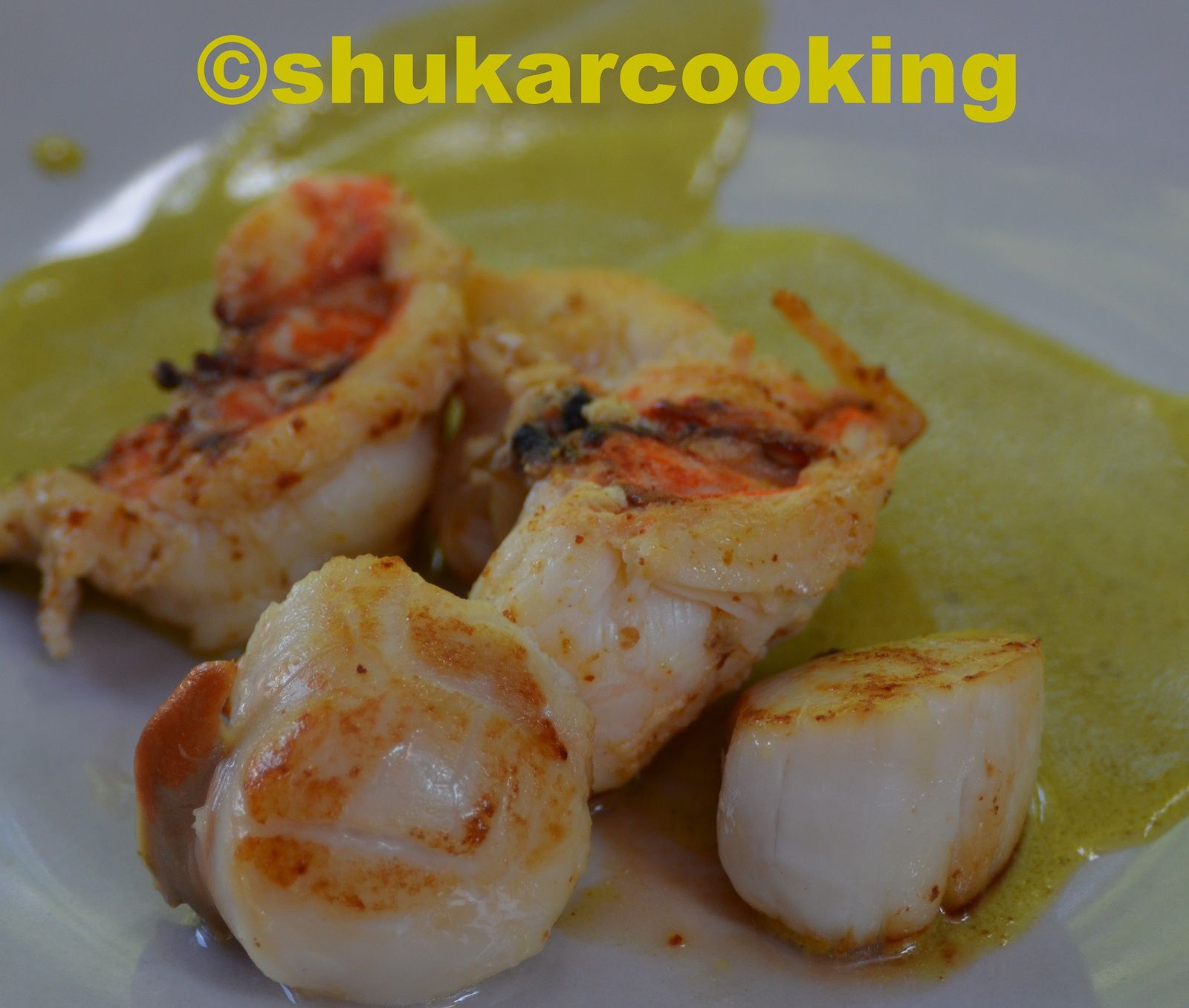 Curry de noix de st jacques et langoustes shukar cooking - Recette saint jacques curry ...