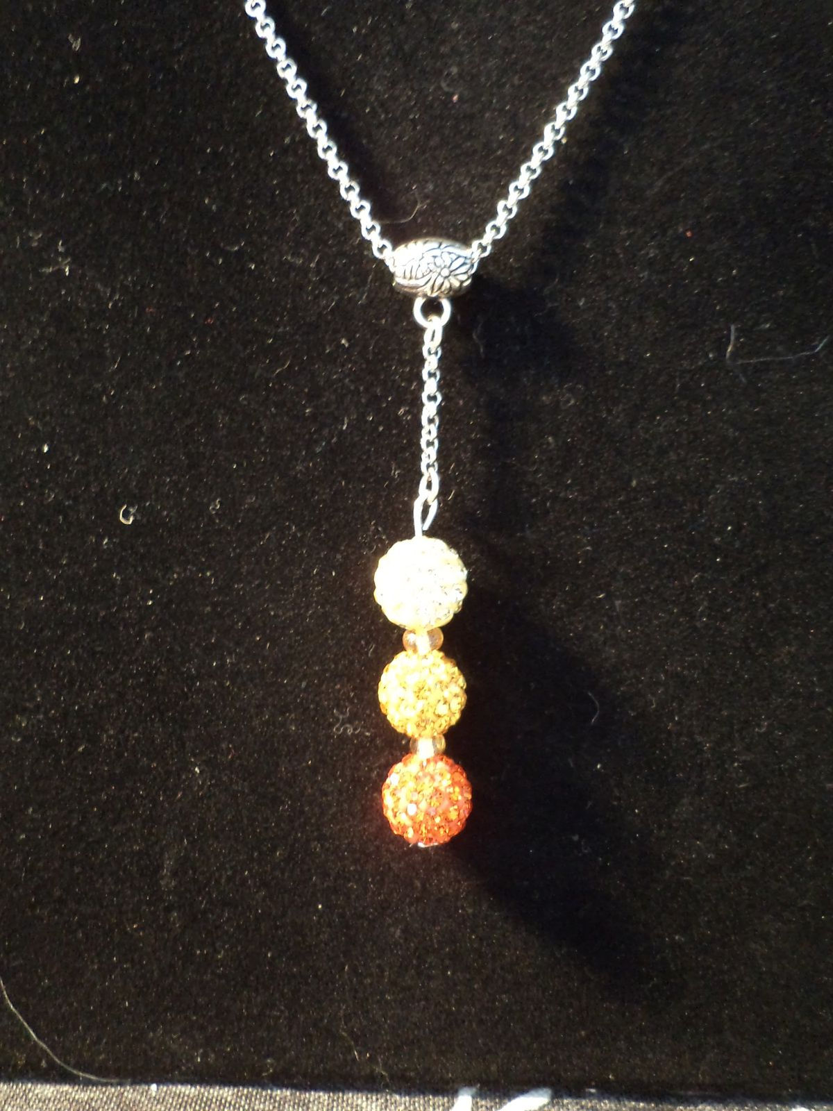 Collier chaine strass jaune orange