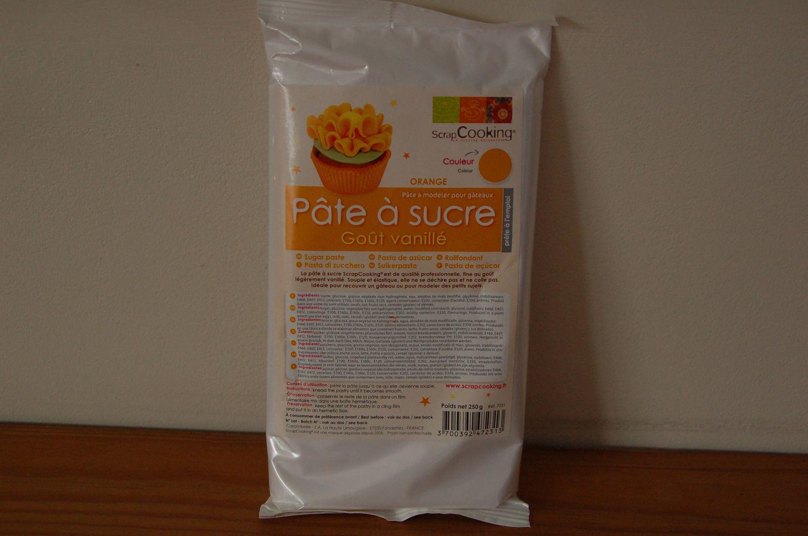 Pâte à sucre goût vanillé orange