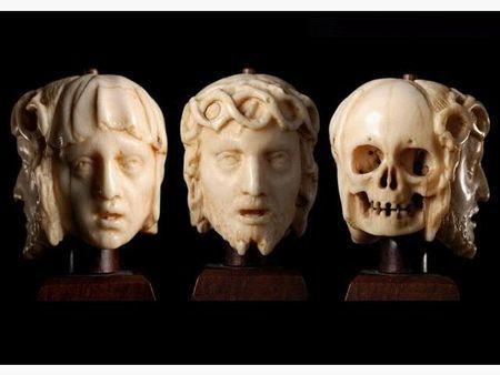 Mémento mori Vanité ou grain de remède à trois faces. France ou Flandres vers 1600.