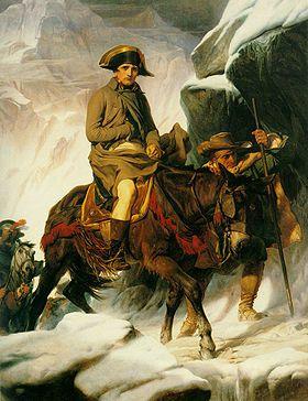 Bonaparte franchissant les Alpes peinte entre 1848–1850, par le peintre français Paul Delaroche