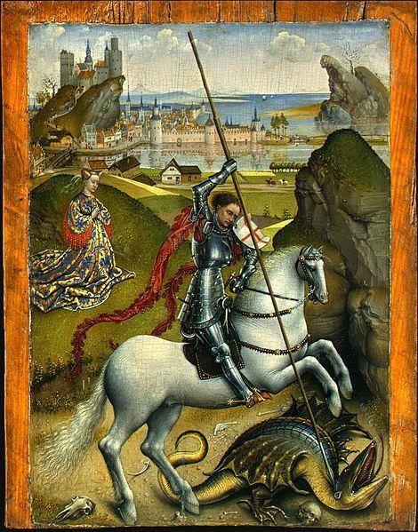 Rogier van der Weyden, Saint George and the Dragon, 1432-1435                                                    La légende dorée écrite au XIIIe siècle par Jacques DE VORAGINE (à partir de récits plus anciens) évoque l'histoire héroïque du chevalier Saint-Georges, envoyé par Dieu, qui délivre une ville assiégée par un dragon. Cette peinture sur bois représente donc saint Georges transperçant de sa lance le dragon qui s'apprêtait à dévorer la fille du roi. L'histoire raconte que le monstre se tenait à l'écart de la ville à condition d'être nourri régulièrement. Cependant, après les brebis et les jeunes gens, vint le tour de la princesse.