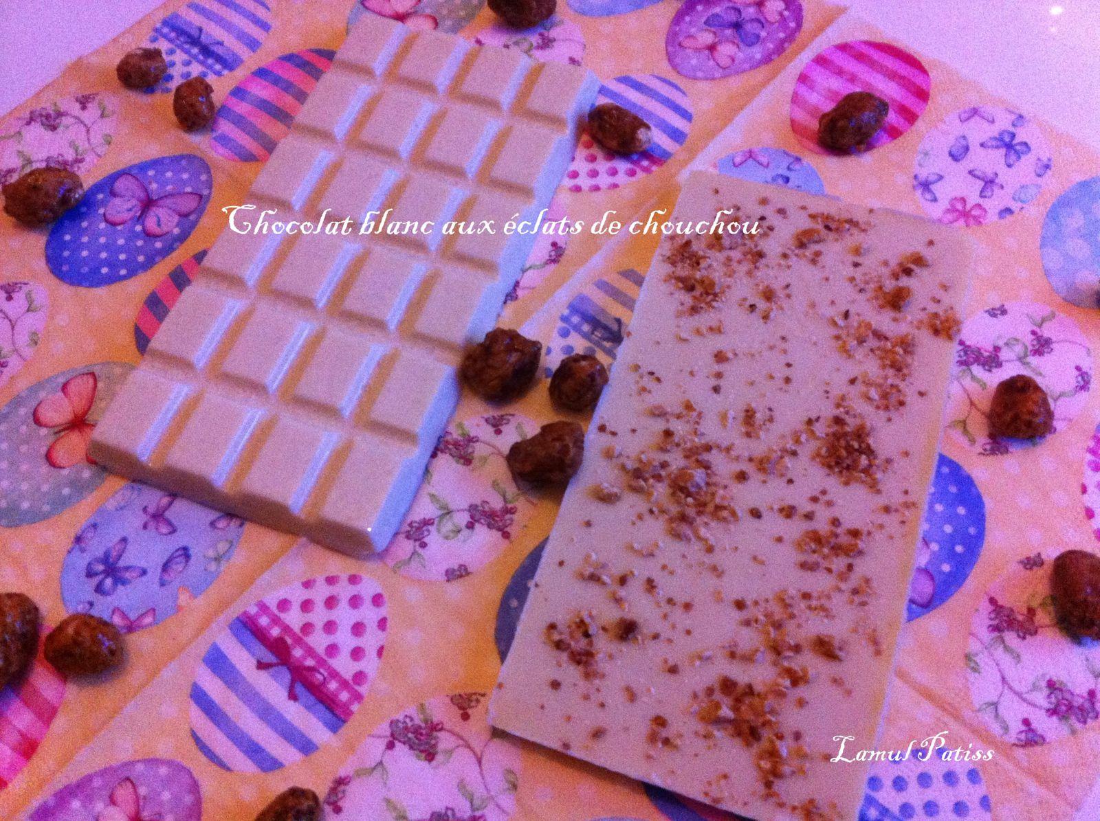 Tablettes chocolat blanc aux éclats de chouchous